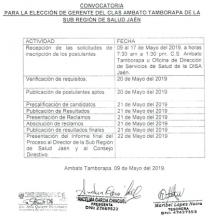 CRONOGRAMA DE CONVOCATORIA